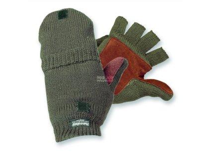 Lovecké rukavice pletené s krytkou prstů