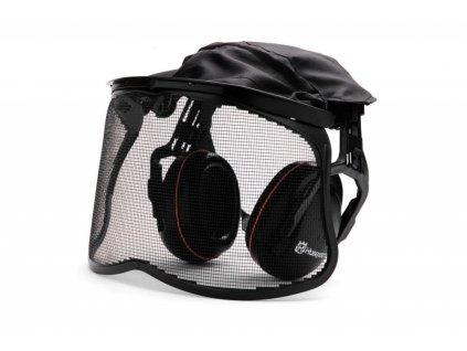 Ochranný štít se sluchátky a kovovou síťkou