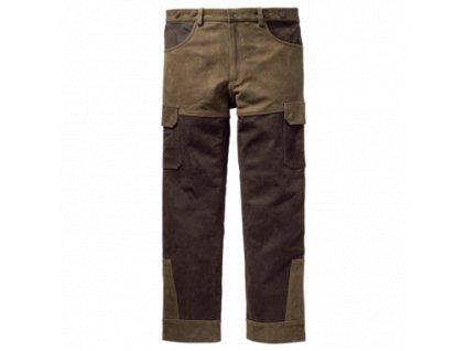 Kožené kalhoty zeleno-hnědé Wild