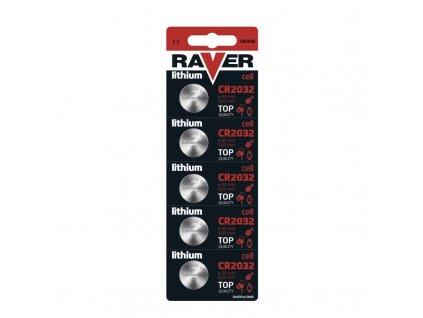 Lithiová knoflíková baterie RAVER CR2032, blistr