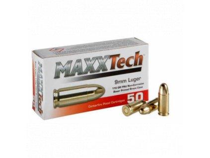 Náboj kulový MAXX Tech, 9mm Luger, 115GR (7,5g), FMJ, mosazná nábojnice