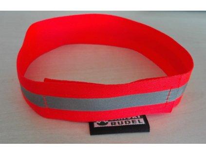 Reflexní obojek - popruh suchý zip s reflexní páskou - oranžový