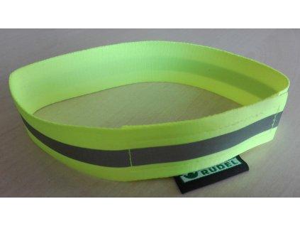 Reflexní obojek - popruh suchý zip s reflexní páskou - žlutý