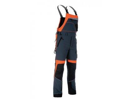 Kalhoty strečové Forestprofi s laclem šedo-oranžové
