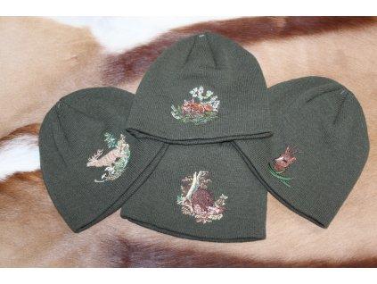 Zimní čepice s výšivkou