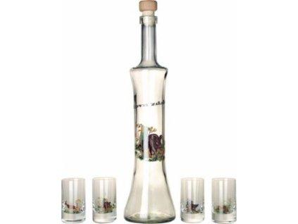 """08/1 sada  1x láhev 0,5l(korkový uzávěr), 6xsklenička  """"štamprlka""""0,05 l"""