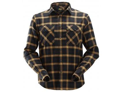 Košile flanel AllroundWork kostkovaná hnědá XS Snickers Workwear