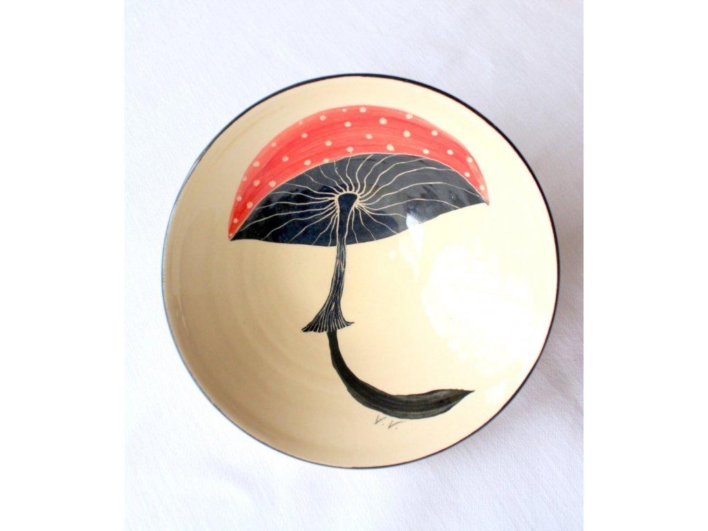 Ručně malovaná miska s motivem hub