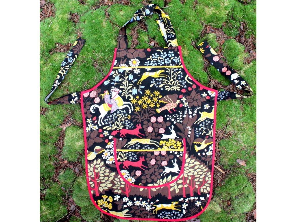 Zástěra pohádkový les - hnědá
