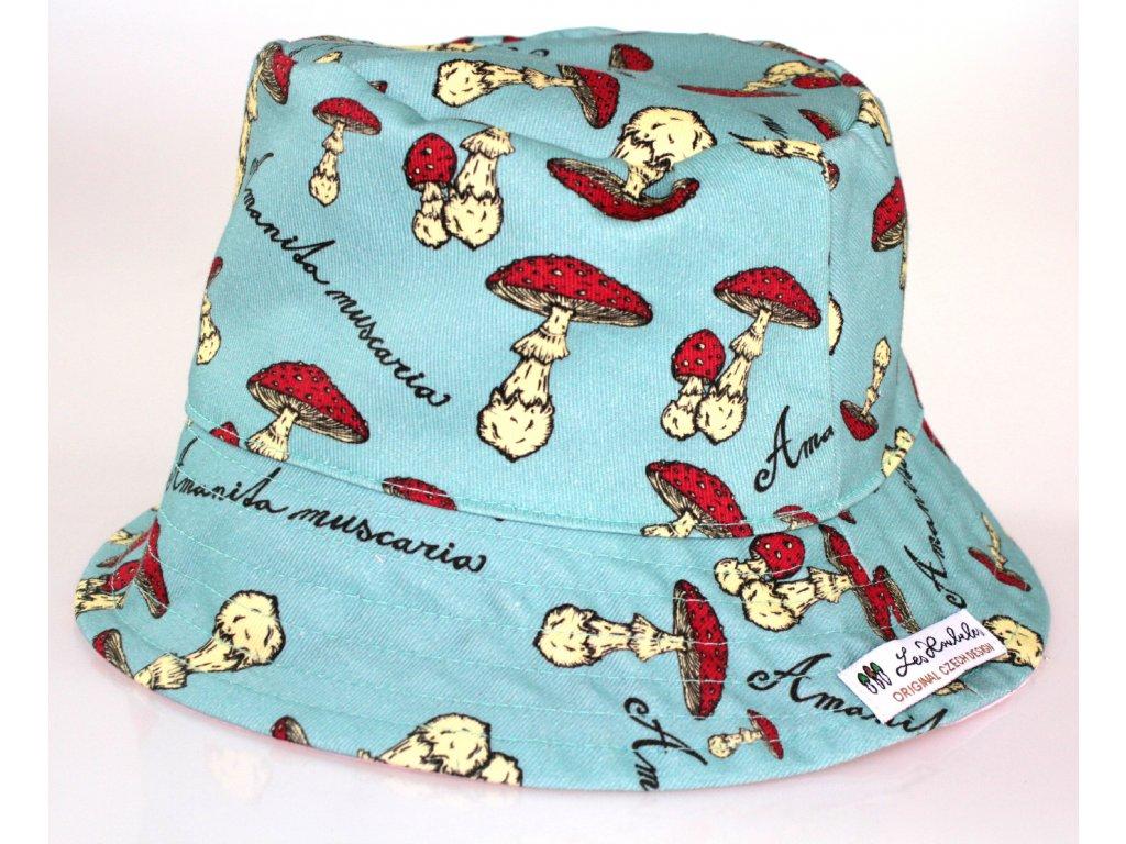 Dětský klobouk - muchomůrky - modrý