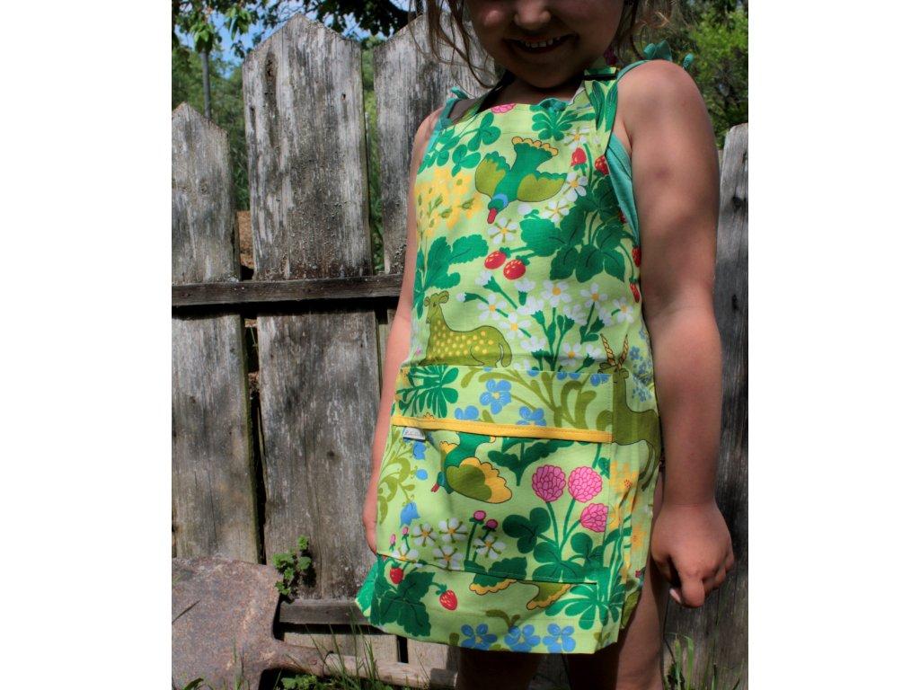 Dětská zástěra - Pohádkový les - světle zelená