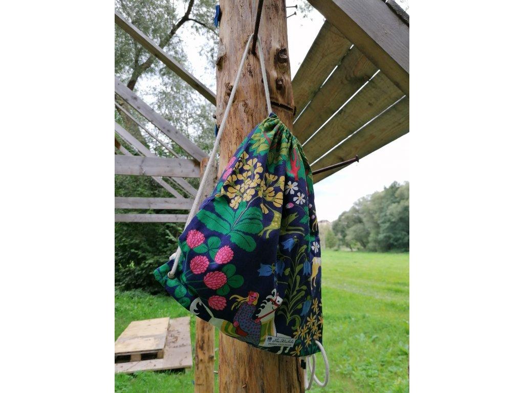 Plátěný batůžek - Pohádkový les modrý