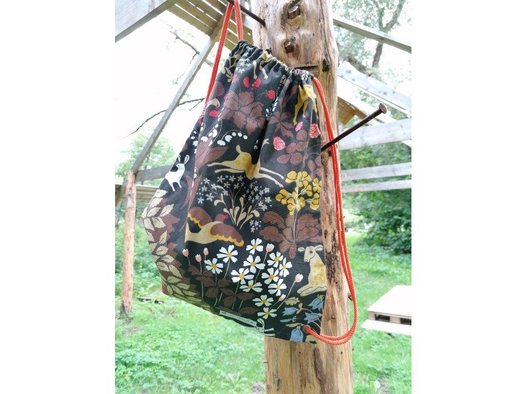 """Plátěný batůžek """"Pohádkový les"""" - hnědý"""