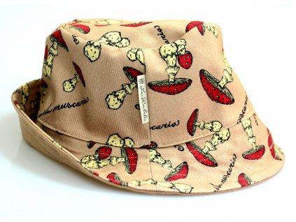 """Dětský klobouk """"Muchomůrky"""" - hnědý"""