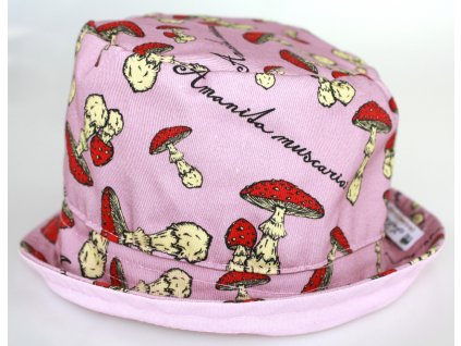 Dětský klobouk - muchomůrky - růžový
