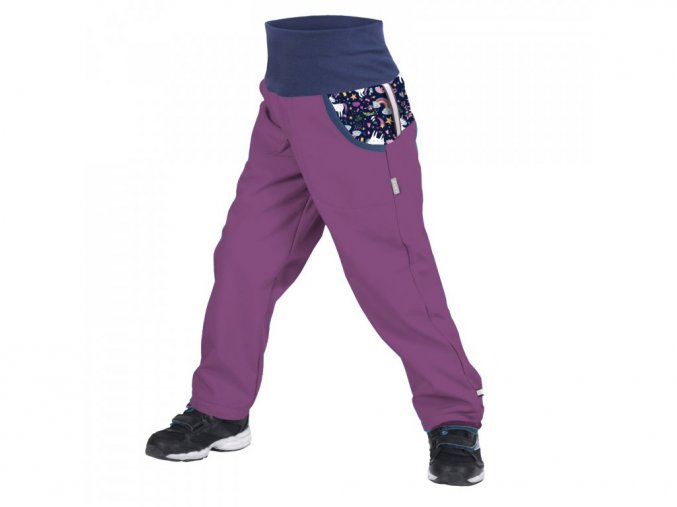 12549 unuo detske softshellove kalhoty s fleecem ostruzinova jednorozci