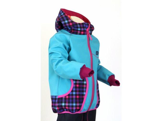 g2915 softshellova bunda pro holky tyrkys kosticky bok