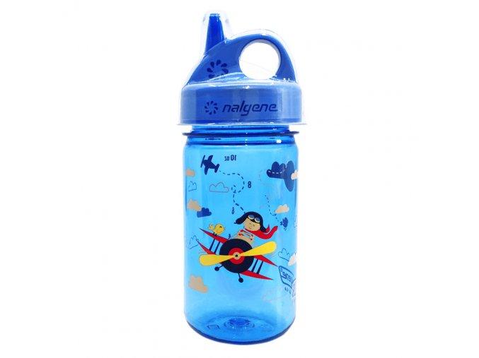Nalgene Dětská lahev Grip´n Gulp 350 ml Blue/Biplane