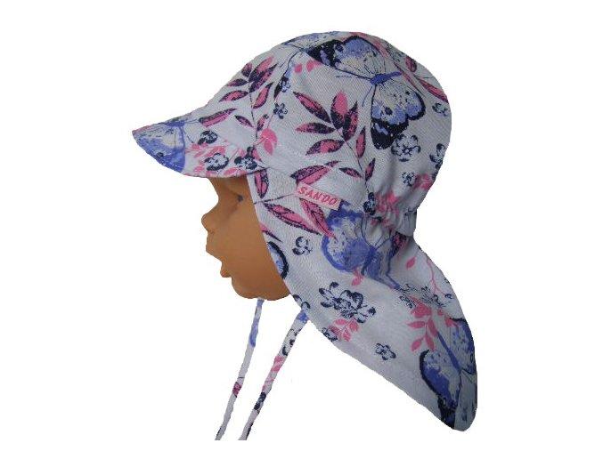 dětská letní čepice s plachetkou motýli