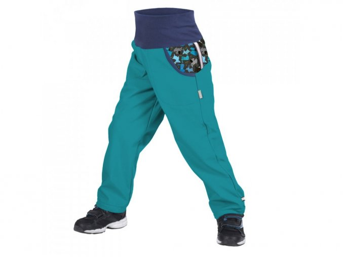 16734 8 unuo detske softshellove kalhoty s fleecem sv smaragdova pejsci