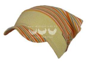 SANDO - Šátek s kšiltem ŽLUTÁ S PROUŽKY (Velikost 52-54)
