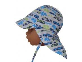 dětslá letní čepice s plachetkou auta