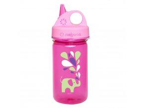 Nalgene Dětská lahev Grip´n Gulp 350 ml PINK ELEPHANT