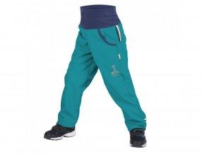 16599 10 unuo detske softshellove kalhoty s fleecem sv smaragdova