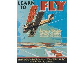 Plechová cedule Learn To Fly