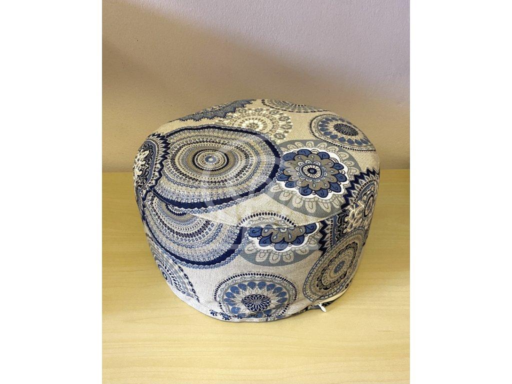 Meditační polštářek pohankový - béžový s modrými mandalami