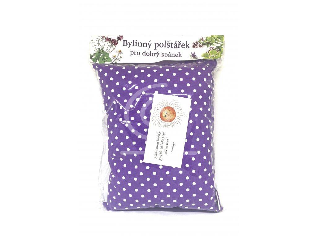 Pleva Bylinný polštářek fialový s bílými puntíky