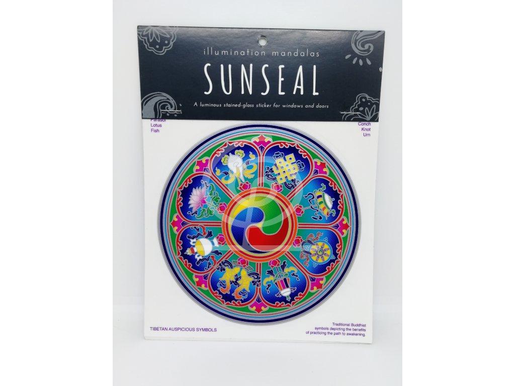 Sluneční mandala Tibetan Auspicious Symbols