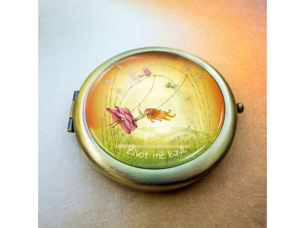Luxusní zrcátko Radost ze života (bronzové)