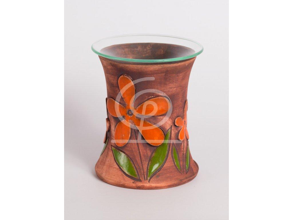 Aromalampa vyřezávaná kopretina plastická oranžová