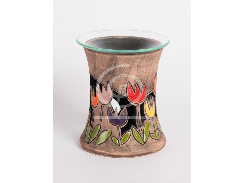 Aromalampa vyřezávaná tulipán barevný
