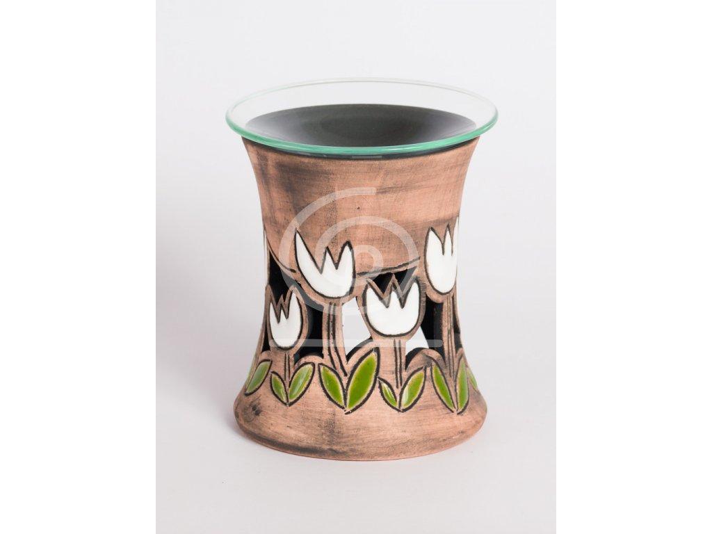 Aromalampa vyřezávaná tulipán bílý