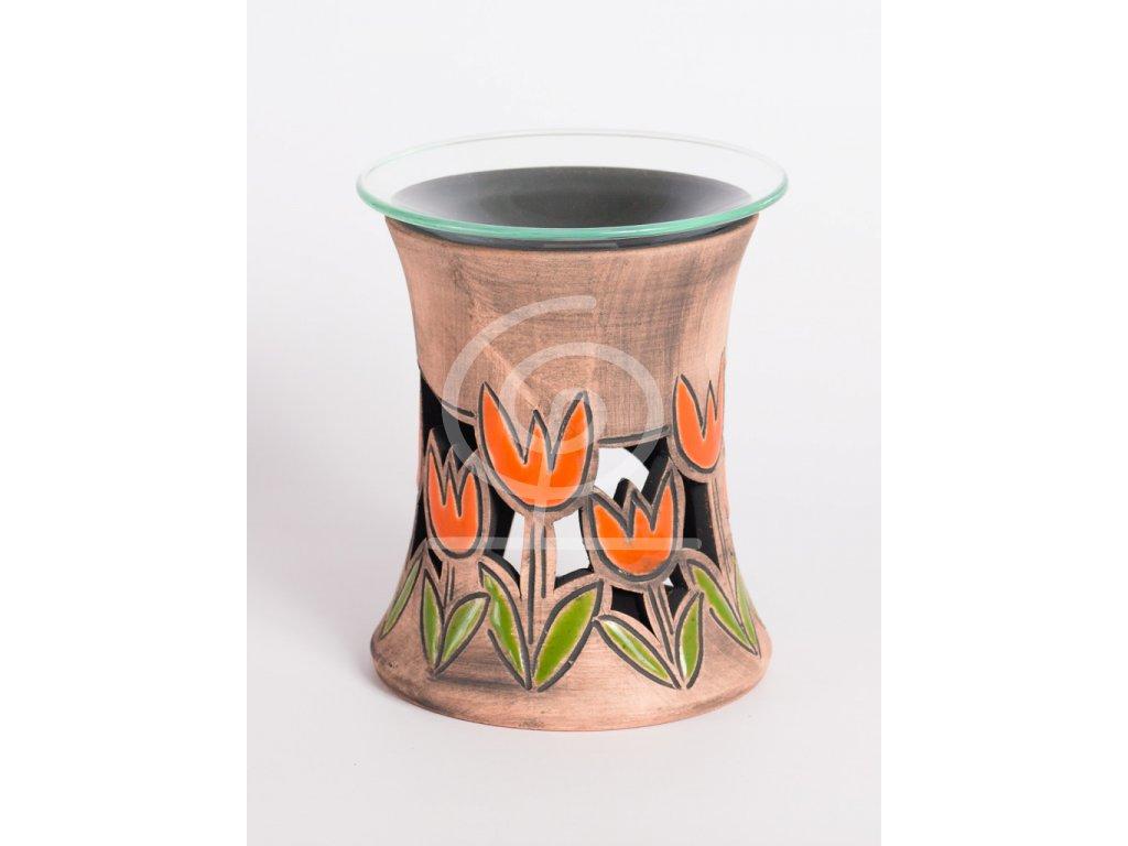Aromalampa vyřezávaná tulipán oranžový
