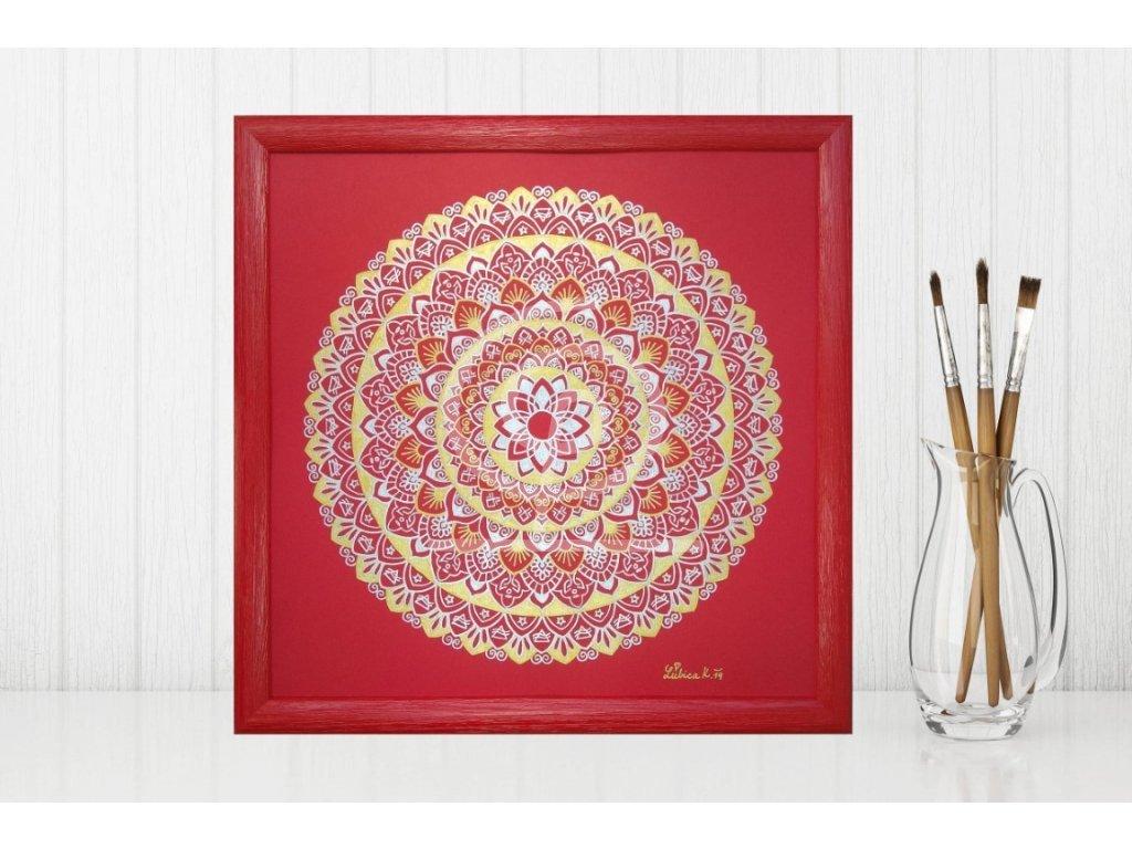 Obraz Mandala Energie slunce, ručně malovaná 30x30cm