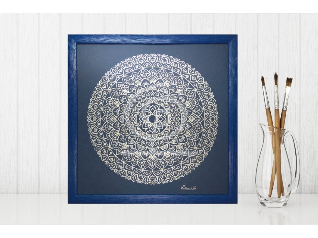 Obraz Mandala Měsíční ochrana, ručně malovaná 30x30cm
