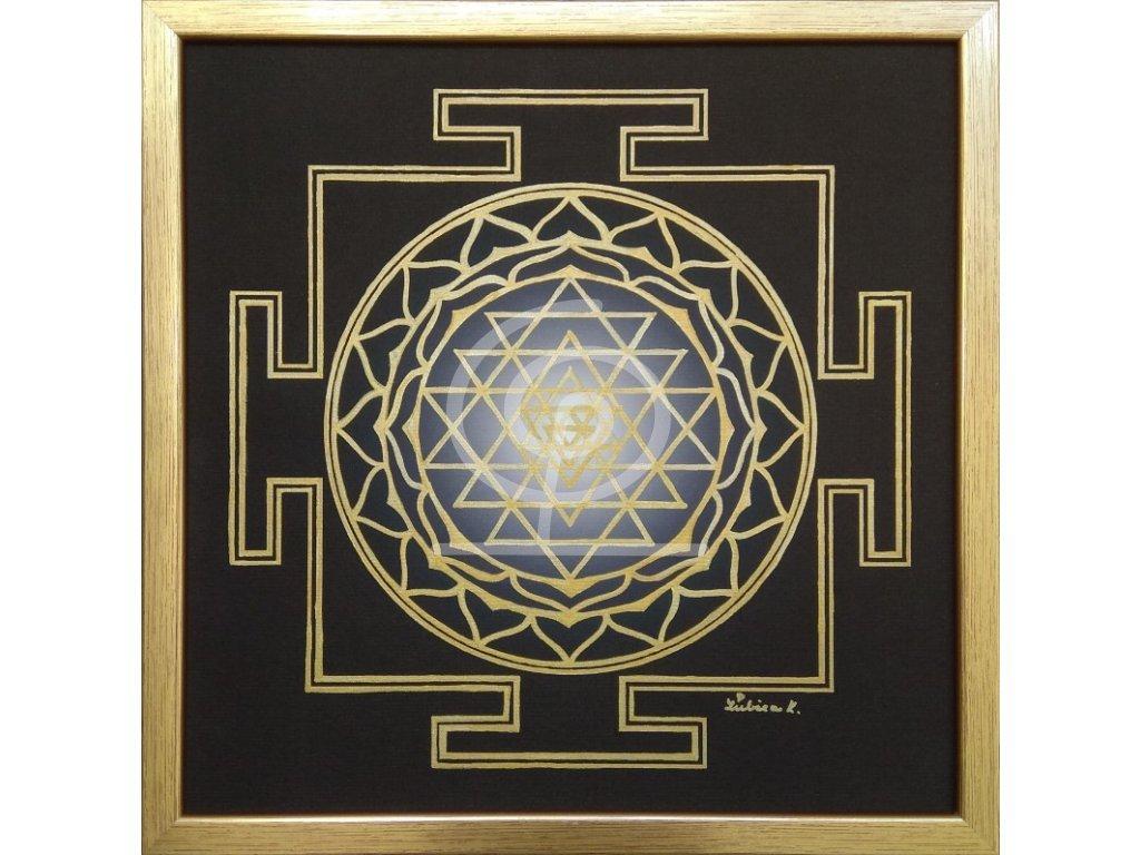 Obraz Mandala Šrí Jantra, ručně malovaná 30x30cm