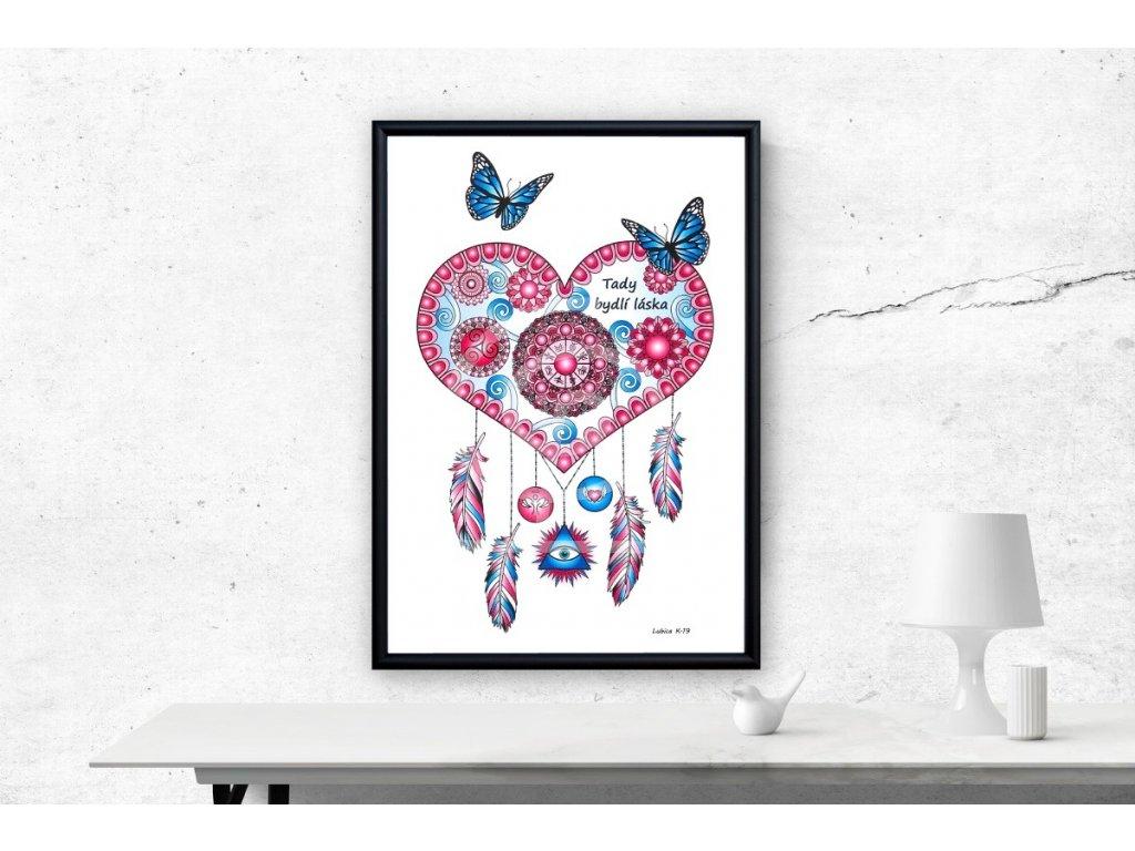 Obraz Mandala Tady bydlí láska 29,7x42cm