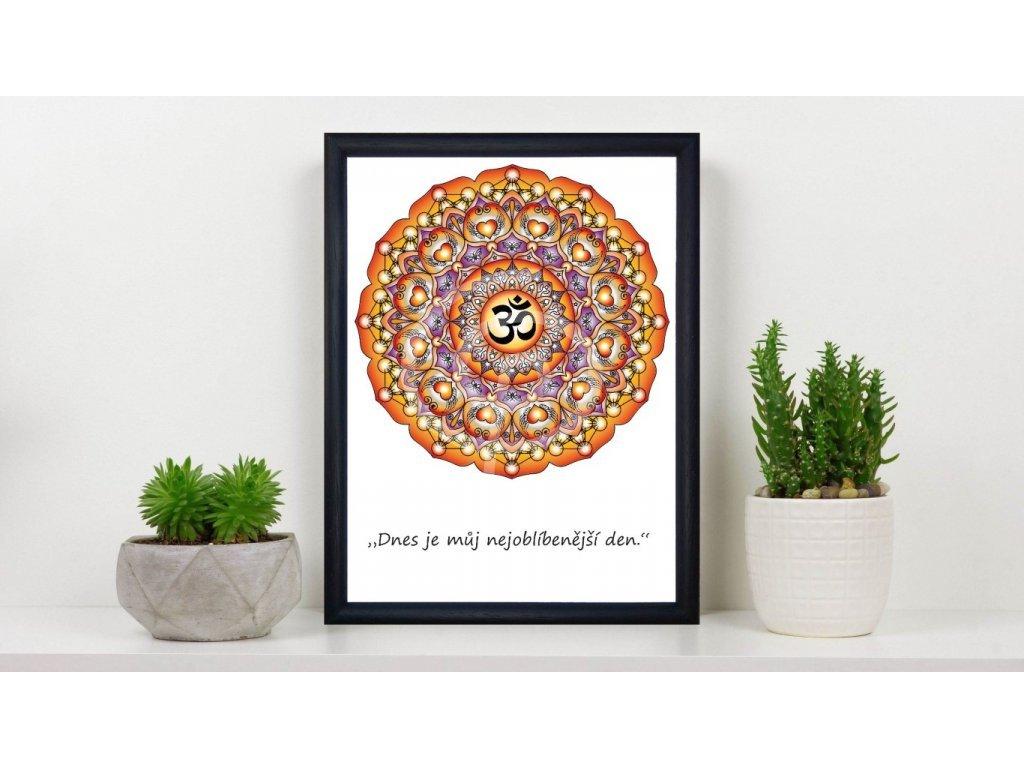 Obraz Mandala Óm s citátem 15x20cm