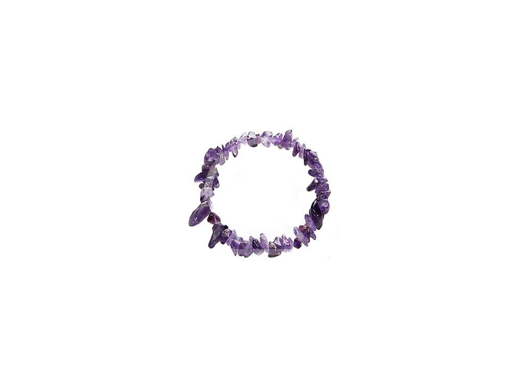 Náramek z tromlovaných kamenů - ametyst