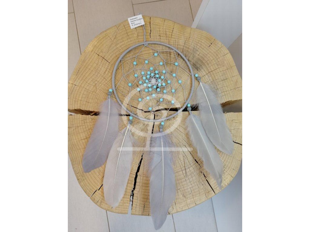 Lapač snů - světle šedý s korálky, 15 cm