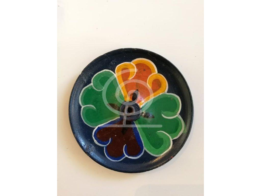 Stojánek na vonné tyčinky dřevěný barevný květ