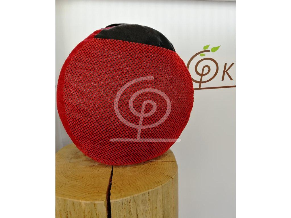 Meditační polštář - červeno černý s černým úchytem