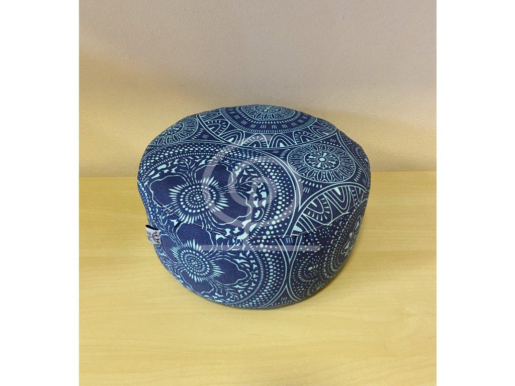 Meditační polštářek pohankový - tmavě modrý se světlými mandalami