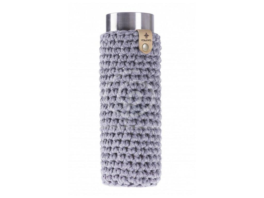 VitaJuwel obal na láhev Via háčkovaný - šedý