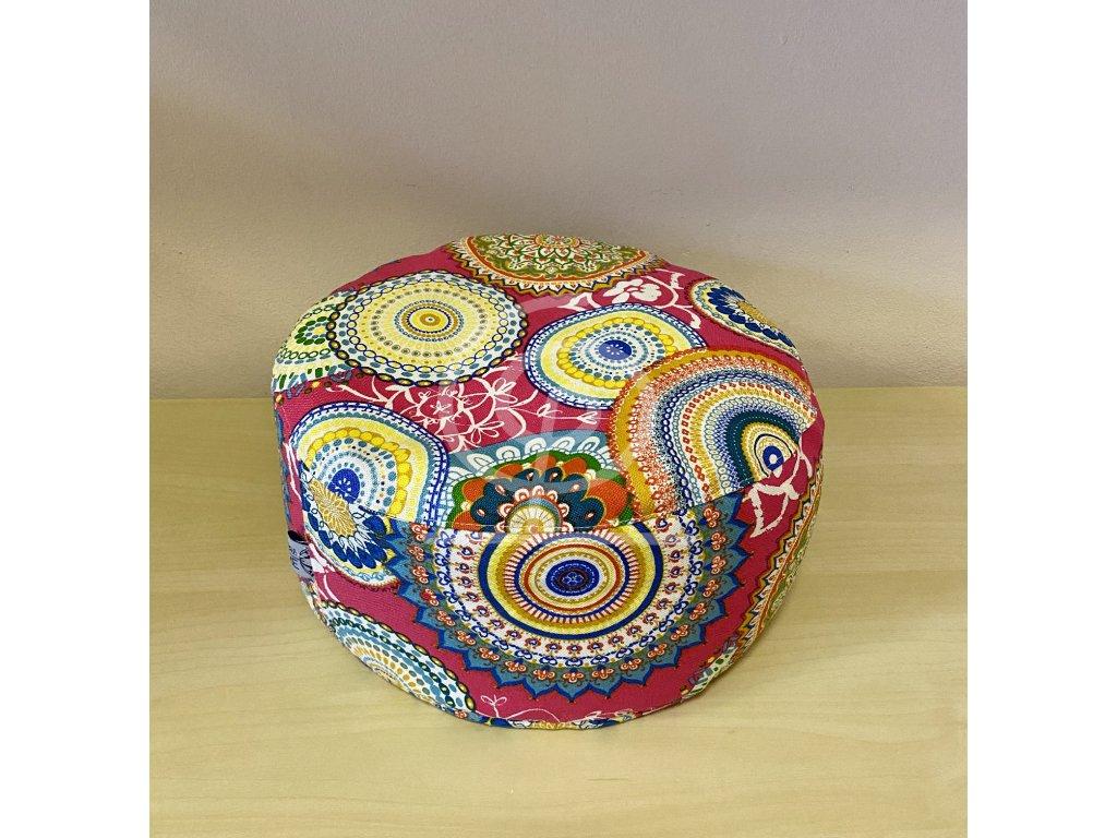 Meditační polštářek pohankový - růžový s barevnými mandalami