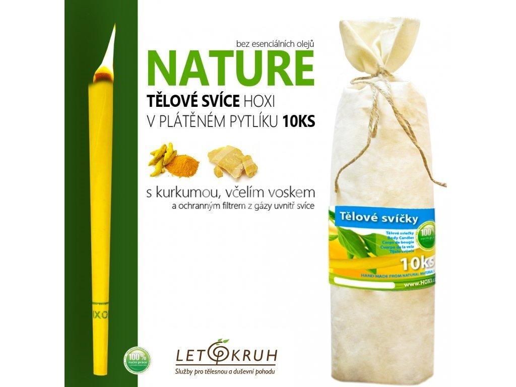 HOXI Tělová svíce Nature bez esenciálních olejů v plátěném pytlíku (10 ks)